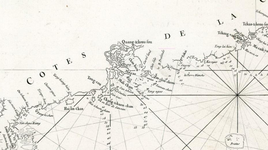 出版於1770年,由法國船員及水道測量家D'Après de Mannevillette所繪製的航海圖,當中大嶼山被標記為Lantao,而香港島則標記為Fan-chin-cheo(泛春洲)